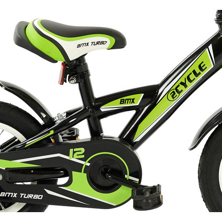 2Cycle Jongensfiets 12 inch BMX groen-zwart (12004)