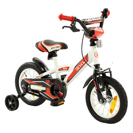 2Cycle Jongensfiets 12 inch BMX wit-rood (12005)