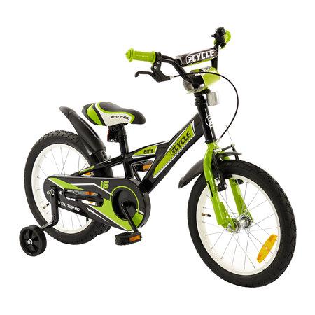 2Cycle Kinderfiets 16 inch BMX groen-zwart (16004)