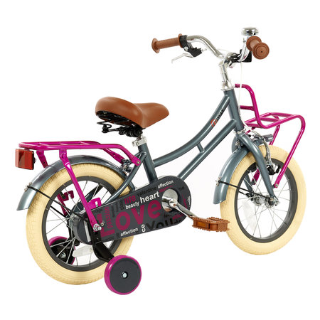 2Cycle 2Cycle Heart Kinderfiets - 14 inch - Grijs-Roze - 2e Kans