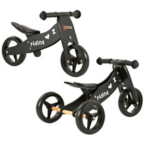 2Cycle 2 in 1 Laufrad / Dreirad - Holz - Schwarz