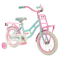 2Cycle Cargo Kinderfiets - 14 inch - Turquoise-Roze