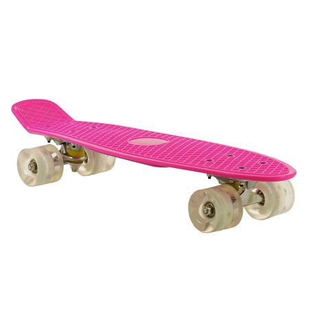 2Cycle 2Cycle Skateboard - LED Wielen - 22.5 inch - Roze-Wit