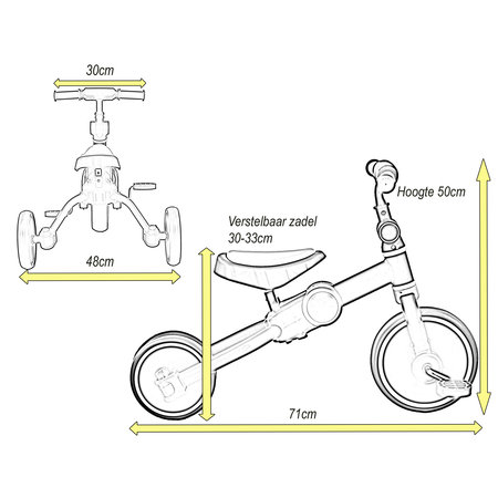 2Cycle 2Cycle 4 in 1 Driewieler-Loopfiets - Geel
