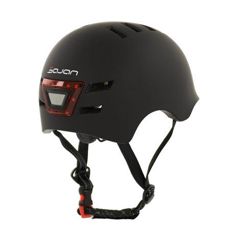 Sajan Sajan Fahrradhelm - Skathelm - Helm mattschwarz - LED-Beleuchtung - Größe-S