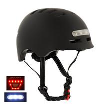 Sajan Fietshelm - Skatehelm - Helm Mat-Zwart - LED Verlichting - Maat-S