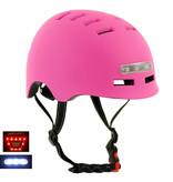 Sajan Sajan Fahrradhelm - Skathelm - Helm mattrosa - LED-Beleuchtung - Größe-S