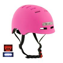 Sajan Fietshelm - Skatehelm - Helm Mat-Roze - LED Verlichting - Maat-S