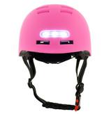 Sajan Sajan Fietshelm - Skatehelm - Helm Mat-Roze - LED Verlichting - Maat-S