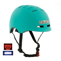 Sajan Fietshelm - Skatehelm - Helm Mat-Turquoise - LED Verlichting - Maat-S