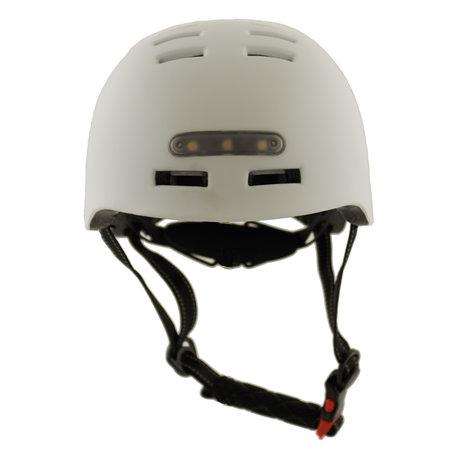 Sajan Sajan Fahrradhelm - Skathelm  - Helm matt-weiß - LED-Beleuchtung - Größe-S