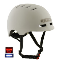 Sajan Fahrradhelm / Skathelm matt-weiß - LED-Beleuchtung - Größe-S