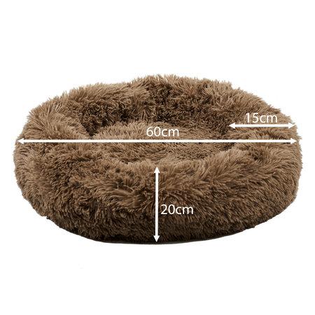 Sajan Sajan Hundebett 60cm - Donut - Super Soft - Waschbar - Braun