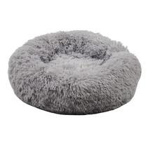 Sajan Hundebett 60cm - Donut - Super Soft - Waschbar - Hellgrau