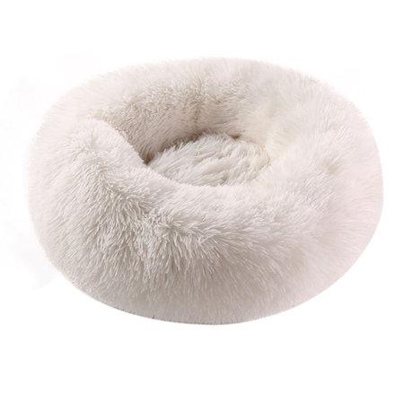 Sajan Sajan Hundebett 50cm - Donut - Super Soft - Waschbar - Weiß
