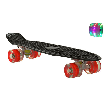 2Cycle 2Cycle Skateboard - LED Rollen - 22,5 Zoll - Schwarz-Rot
