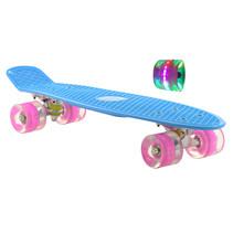 Sajan Skateboard - LED-Räder - 22,5 Zoll - Blau-Rosa