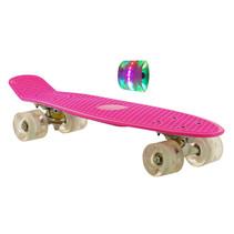 Sajan Skateboard - LED-Räder - 22,5 Zoll - Rosa