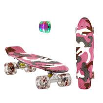Sajan Skateboard - LED Räder - 22,5 Zoll -  Camouflage Rosa