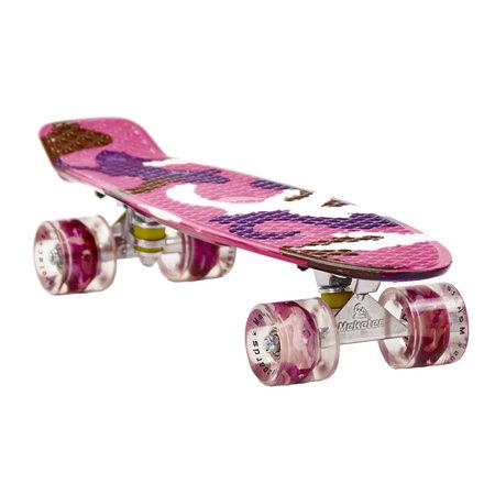 Sajan Sajan Skateboard - LED Wielen - 22.5 inch - Camouflage Paars