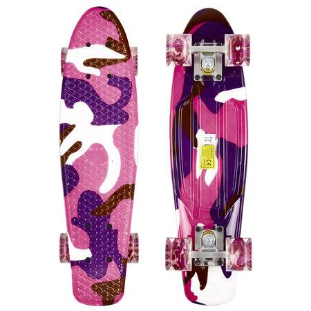 Sajan Sajan Skateboard - LED Räder - 22,5 Zoll -  Camouflage Violett