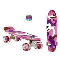 Sajan Skateboard - LED Räder - 22,5 Zoll -  Camouflage Violett