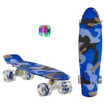 Sajan Skateboard - LED Wielen - 22.5 inch - Camouflage Blauw