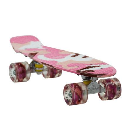 Sajan Sajan Skateboard - LED Räder - 22,5 Zoll -  Camouflage Rosa - Weiß