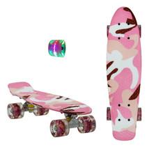 Sajan Skateboard - LED Räder - 22,5 Zoll -  Camouflage Rosa - Weiß