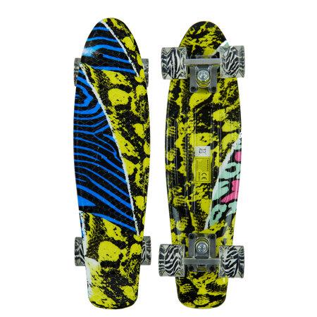 Sajan Sajan Skateboard - LED Wielen - 22.5 inch - Camouflage Blauw-Geel