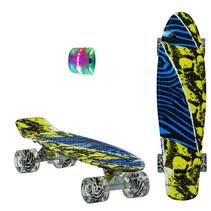 Sajan Skateboard - LED Wielen - 22.5 inch - Camouflage Blauw-Geel