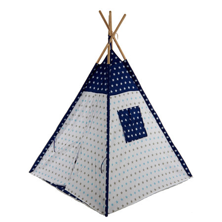 Sajan Sajan  Tipi Spielzelt - Mit Kissen - Blau Weiss