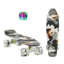 Sajan Skateboard - LED Räder - 22,5 Zoll -  Camouflage Grau