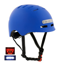 Sajan Fietshelm- Skatehelm - Helm Mat-Blauw - LED Verlichting - Maat-S