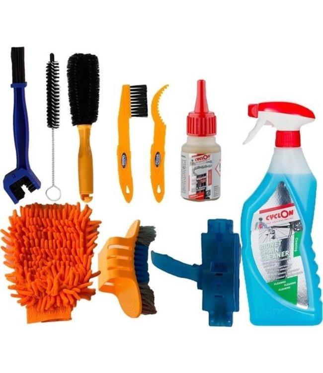 Makes Easy Makes Easy: Komplet cykel rengøringsbørster pakke Cyclon kæde rengøringsmiddel + smøremiddel 10 stk