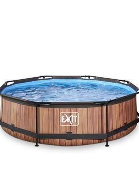 Exit Toys Exit Toys zwembad Wood ø300x76cm met filterpomp bruin