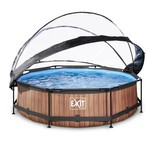 Exit Toys Exit Toys zwembad Wood ø300x76cm met overkapping en filterpomp bruin