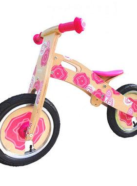 Simply Simply houten loopfiets roze