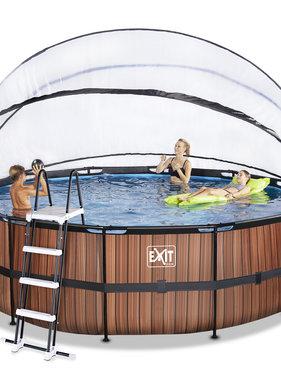 Exit Toys Exit Toys zwembad Wood ø450x122cm met overkapping en filterpomp bruin