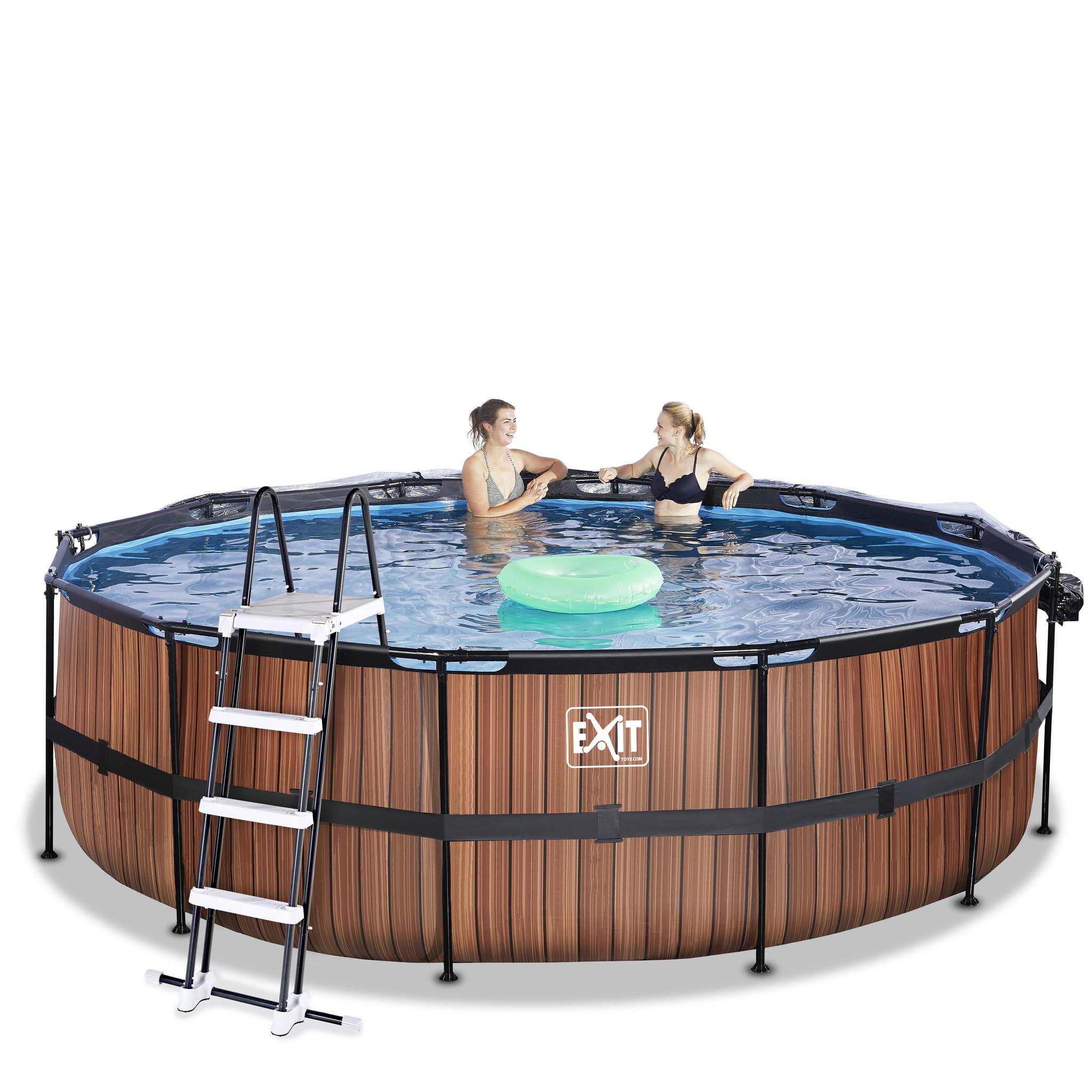Exit Toys Exit Toys zwembad Wood ø450x122cm met overkapping en zandfilterpomp bruin