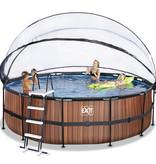 Exit Toys Exit Toys zwembad Wood ø450x122cm met warmtepomp overkapping en zandfilterpomp bruin
