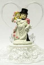 Leuke komische taart topper, de bruidegom tilt de bruid