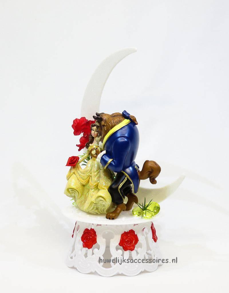 Romantische Disney Belle en het Beest bruidstaart topper met maan