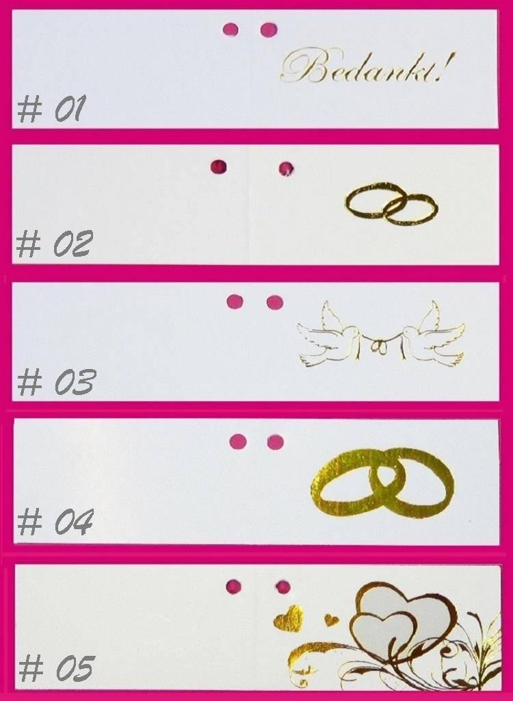 Huwelijk bedankjes taart versierd met gouden ringen en roosjes