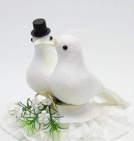 Huwelijkstaart topper met duivenpaar
