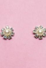 Zilveren strass oorbellen versierd met parels