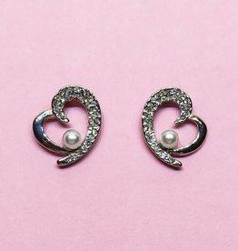 Zilveren strass oorbellen met parels