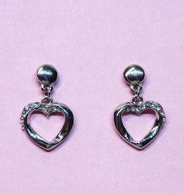 Zilver strass hart oorbellen