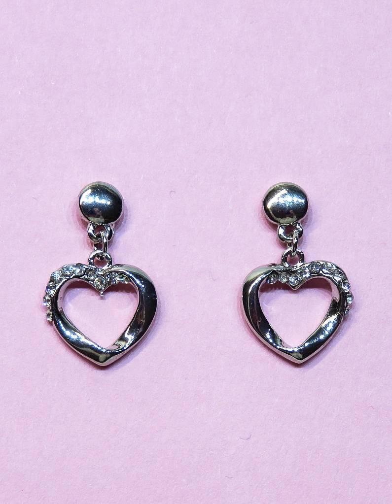 Prachtige zilver oorbellen met strass steentjes