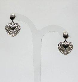 Prachtige zilveren hart strass oorbellen